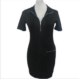NWOT Zara Trafaluc Black Zip bodycon dress Med B4